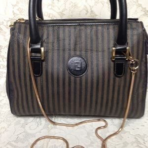 Fendi Bags - Authentic Black Pekin Strip Handbag-Crossbody